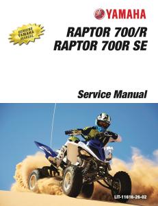 yamaha atv raptor 700 r 2012-2014  workshop & repair manual