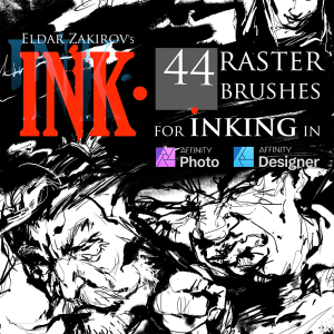ink.• for affinity photo & designer: 44 raster brushes + dehalftonizer