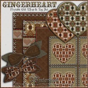 gingerheart printable gift wrap set