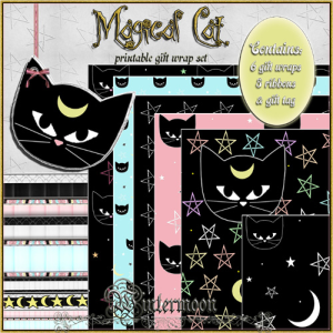 magical cat printable gift wrap set
