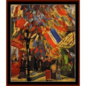 14th of july celebration, paris - van gogh cross stitch pattern by cross stitch collectibles