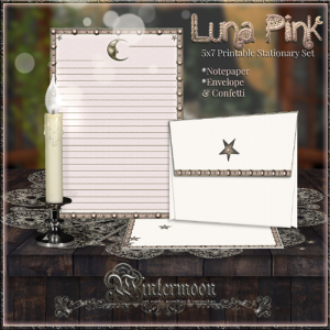 luna pink printable 5x7 stationary set