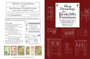 shop drawings for byrdcliffe furniture with full-size patterns