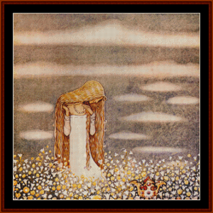 princess in field - john bauer cross stitch pattern by cross stitch collectibles