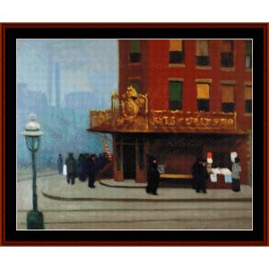 new york corner - edward hopper cross stitch pattern by cross stitch collectibles
