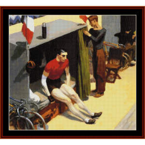French Bicycle Rider - Edward Hopper cross stitch pattern by Cross Stitch Collectibles | Crafting | Cross-Stitch | Other