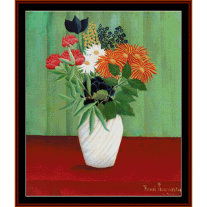 china asters - henri rousseau cross stitch pattern by cross stitch collectibles