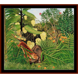 fight between tiger and buffalo - henri rousseau cross stitch pattern by cross stitch collectibles