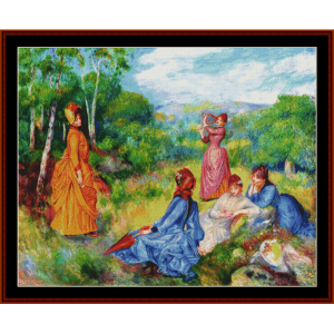 girls playing badminton - henri rousseau cross stitch pattern by cross stitch collectibles