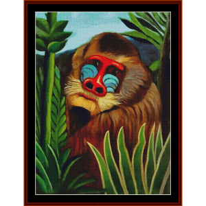 mandril in the jungle - henri rousseau cross stitch pattern by cross stitch collectibles