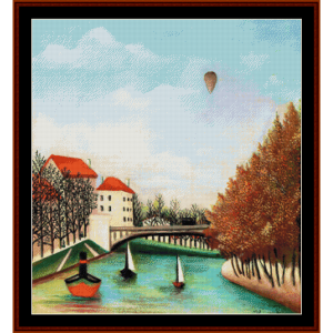 the ponte de sevres - henri rousseau cross stitch pattern by cross stitch collectibles