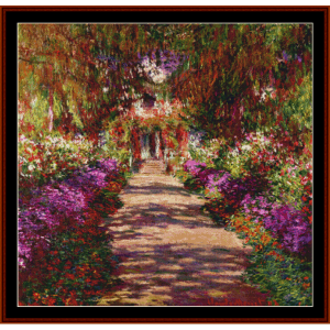 a pathway in the garden - monet cross stitch pattern by cross stitch collectibles