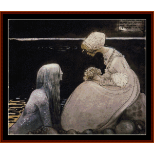 agneta and the sea king - john bauer cross stitch pattern by cross stitch collectibles