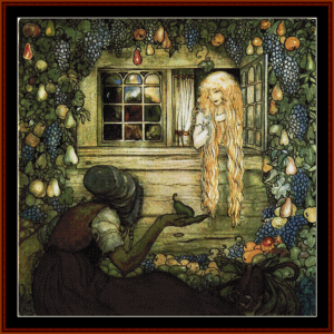at the window - john bauer cross stitch pattern by cross stitch collectibles