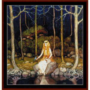 princess in the forest - john bauer cross stitch pattern by cross stitch collectibles