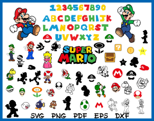 super mario svg set.  super mario alphabet svg, png, pdf, eps, dxf format.