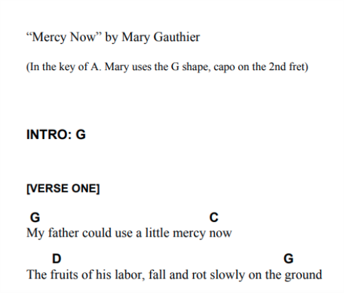 First Additional product image for - Mercy Now:  Play-along Chords & Lyrics (Mary Gauthier)