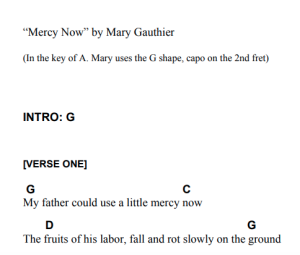 mercy now:  play-along chords & lyrics (mary gauthier)