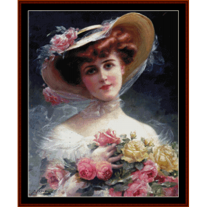 beauty with flowers - emile vernon cross stitch pattern by cross stitch collectibles