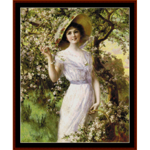 cherry blossoms - emile vernon cross stitch pattern by cross stitch collectibles