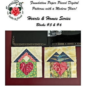 home blocks 5 & 6 - hearts & homes series paper pieced (fpp) block pattern