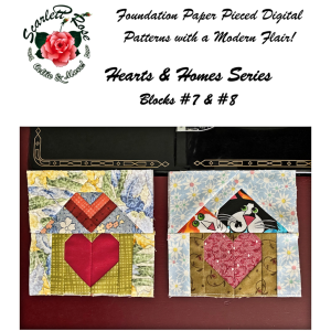 home blocks 7 & 8 - hearts & homes series paperpieced (fpp) block pattern