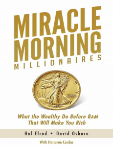 the miracle morning millionaires by hal elrod