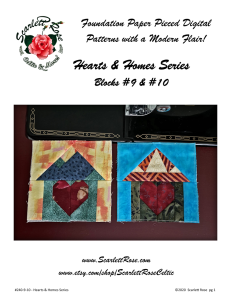 home blocks 9 & 10 - hearts & homes series paperpieced (fpp) block pattern