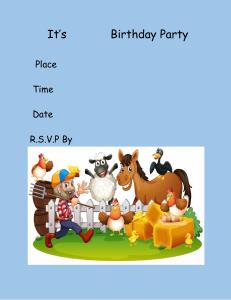 birthday invitefarm animals