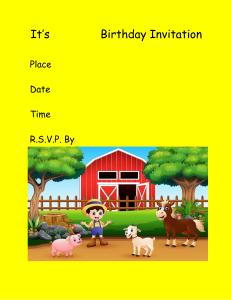 its name birthday party farm invitation