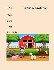 its name birthday party invitation farm