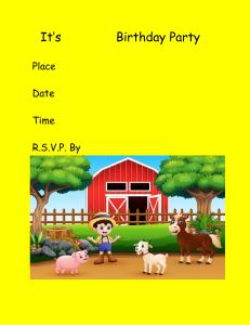 it's name birthday party invitation farm