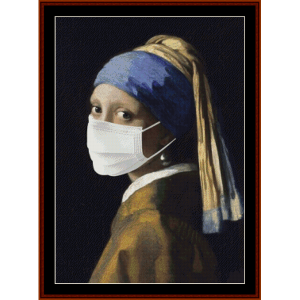 girl with pearl earring, pandemic edition cross stitch pattern by cross stitch collectibles