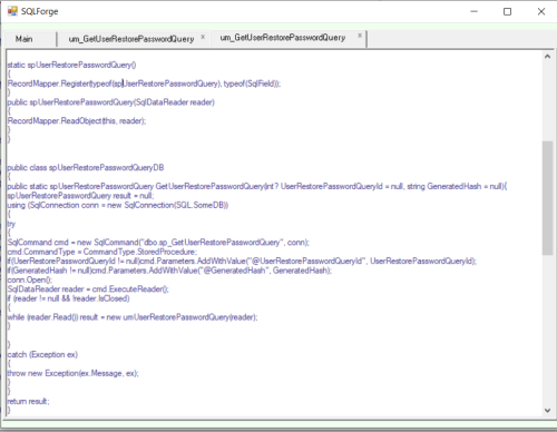 First Additional product image for - SQLForge DB layer code generator for ASP.NET Webforms and WCF