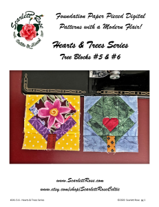 tree blocks 5 & 6 foundation paper pieced (fpp) modern digital pattern - hearts & trees series