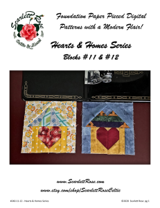 home blocks 11 & 12 - hearts & homes series foundation paper pieced (fpp) block pattern