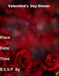 valentine day dinner card