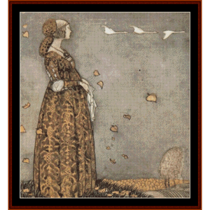 the swan maiden - john bauer cross stitch pattern by cross stitch collectibles