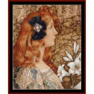 Young Woman with Lilies - Elsabeth Sonrel cross stitch pattern by Cross Stitch Collectibles | Crafting | Cross-Stitch | Other