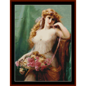 basket of roses - emile vernon cross stitch pattern by cross stitch collectibles