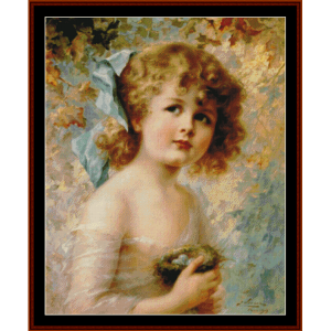 girl with bird's nest - emile vernon cross stitch pattern by cross stitch collectibles