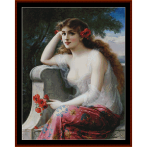 Young Beauty with Poppies - Emile Vernon cross stitch pattern by Cross Stitch Collectibles | Crafting | Cross-Stitch | Other