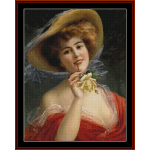 young girl with rose - emile vernon cross stitch pattern by cross stitch collectibles