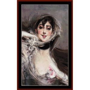 gloved woman - giovanni boldini cross stitch pattern by cross stitch collectibles