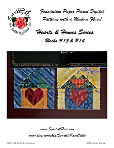 home blocks 13 & 14 - hearts & homes series foundation paper pieced (fpp) block pattern