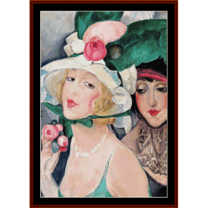 two women with hats - gerda wegener cross stitch pattern by cross stitch collectibles