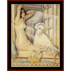 Two Women in a Window - Gerda Wegener cross stitch pattern by Cross Stitch Collectibles | Crafting | Cross-Stitch | Other