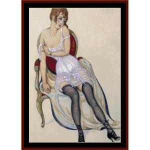 lady in underwear - gerda wegener cross stitch pattern by cross stitch collectibles