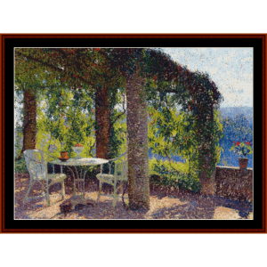the arbor, in the south - henri martin cross stitch pattern by cross stitch collectibles