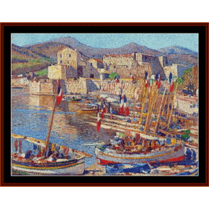 july 14th at collioure - henri martin cross stitch pattern by cross stitch collectibles